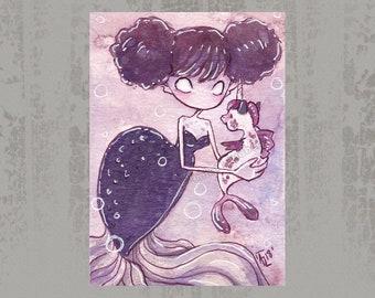 MerMay 2018 Card 7 - Original ACEO, watercolor painting