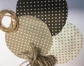 Jam Jar covers, Fabric pot covers, Jam pot covers, mini jar covers, Brown cream polka dot