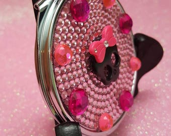 Hot Pink Candy Skull Compact purse mirror