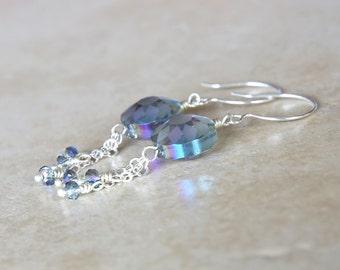 Sparkling Purple Flower Dangle Earrings