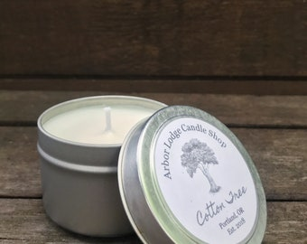 Cotton Tree Scented Soy Candle in 8oz, 4oz, or 2oz Travel Tin | Wedding | Favor | Gift | Spa | Party | Home