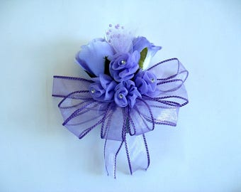Lavender rose corsage, Corsage for women, Bridal shower bow, Prom corsage, All lavender corsage, Unique floral gift, Anniversary corsage