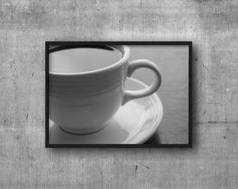 Coffee Mug Print - Digital Download - Hot Coffee Digital Print - Black and White Cup of Coffee Photography - Food Photography