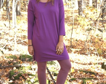 Ready To Ship / Simple 3/4 Sleeve T-shirt Dress in Bamboo Jersey / by replicca / size medium / ultraviolet