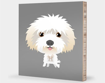 Dog art | Pet portrait - Maltese, Havanese, Bichon Frise, Coton de Tulear, Alphabet art, Animal art, Pet illustration, Maltese art decor