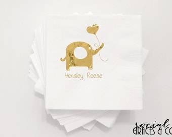 Baby Shower Napkins | Personalized Napkin | Elephant Napkins