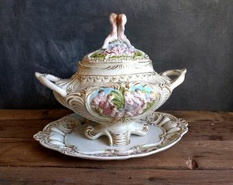 Gorgeous Vintage Capodimonte  Tureen cherub ~ Italian Vintage Porcelain ~ Shabby Chic Decor