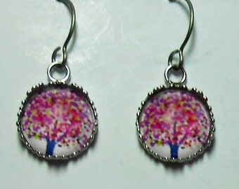 Pink Cherry Tree of Life Titanium Hypoallergenic Earrings  Aqua Deer For Sensitive Ears