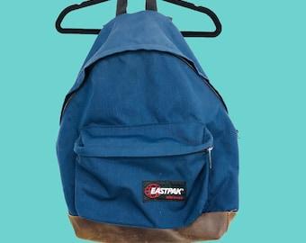 Vintage 90s Eastpak Backback Book Bag Navy Blue Leather Bottom Made In USA 17 x 20 Retro School Normcore Knapsack