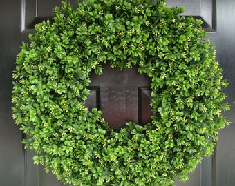 Year Round Wreath, Artificial Boxwood Door Wreath, Front Door Spring Wreath, Fall Wreath, 20 Inch