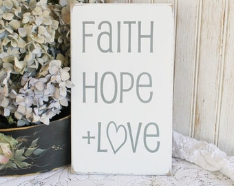 Faith Hope and Love Sign Worn Finish Wood Vintage Look Inspirational