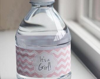 Printable baby shower water bottle label PDF for girl | Chevron It's a Girl water bottle label | Baby shower favor | Instant download