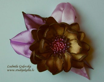 Handmade golden-brown-purple satin flower brooch, flower clip & pin, embroidered flower