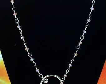 Sterling Silver Lariat Necklace with Quartz