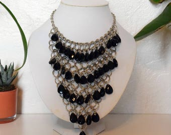 Black and Silver Statement Necklace / Bib Statement Necklace / Black Jewels / Silver Metal