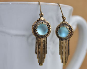 ART DECO EARRINGS antiqued brass art deco style earrings with vintage matte light blue color glass cabs