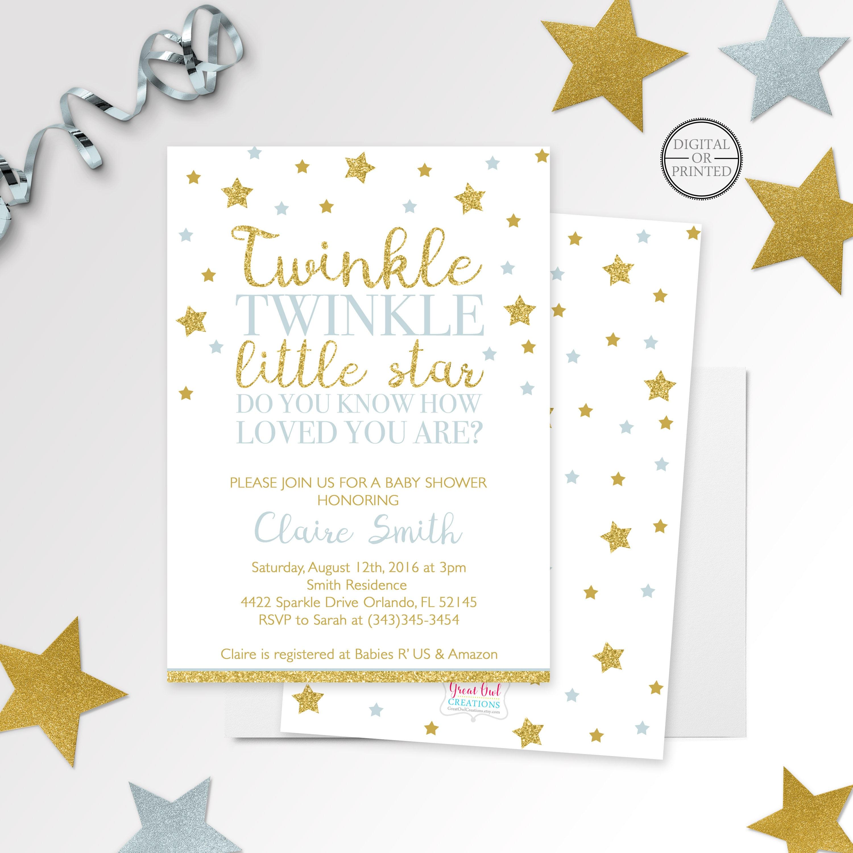 Twinkle Twinkle Little Star Baby Shower Invitation Twinkle