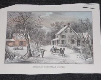 Vintage Currier & Ives Print-1980-American Homestead Winter