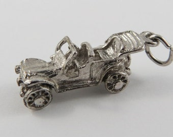 Ford Model T 5 Passenger Touring Car Sterling Silver Vintage Charm For Bracelet