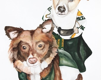 """TWO PET - Custom Pet Portrait - 11"""" x 15"""" - OR - 18"""" X 24"""" Watercolor - Made To Order"""