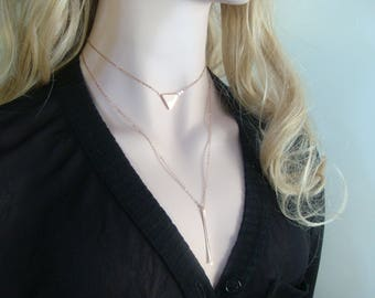 Two Layered Necklace, Rose Gold plate 925 Sterling Silver Triangle Choker, Long Bar Layered Necklace, L5
