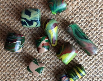 Earth tone Handmade Polymer Beads Set of 9