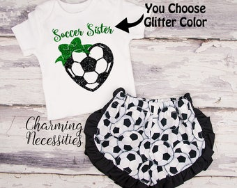 Soccer Sister Glitter Top and Ruffled Shorts Set, Soccer Fan, Baby Girl  Outfit, Toddler Girl Clothes, by Charming Necessities SS