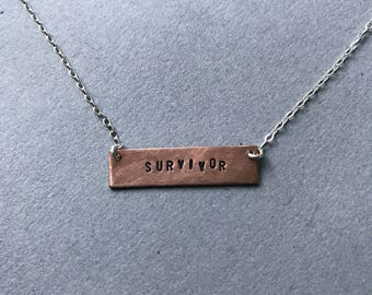 Survivor Hand-stamped Copper Necklace