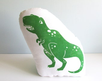 Plush T-rex Dinosaur Shaped Animal Pillow. Hand Woodblock Printed. Choose ANY Colors. Made to order-takes 1-2 weeks.