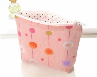 Whimsical Dots Coin Purse, Gift Card/ Credit Card Holder, Pink Change Purse, Small Zipper Pouch