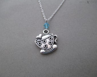 CLEARANCE - Teacup Charm Necklace - Silver
