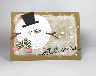 Snowman Christmas Card - Let It Snow