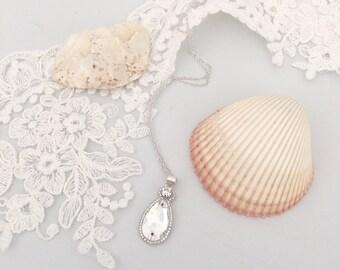 Crystal wedding necklace,  Crystal silver wedding necklace, Crystal bridal necklace