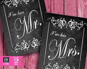 DIY Printable Wedding Chair signs -I'm Her MR & I'm His MRS - Chalkboard style -  instant download of digital file - Victoria Collection