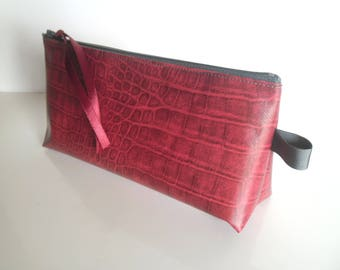 Makeup or pencil case grey and red skin snake