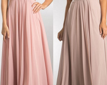 ADRIA Bridesmaid Open V-neck  Fitted Chiffon Gown