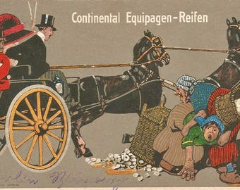 Old picture advertising continental tires from 1914 postcard in differend sizes