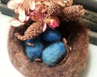 Wool Needle Felted Bird Nest Eggs Hydrangea Lavender Decoration Easter Spring Home Decor Robin Egg Turquoise