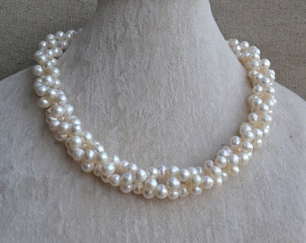 white pearl necklace,twisted necklace, 7-8mm freshwater pearl necklace, white pearl necklaces, wedding necklace,statement necklace