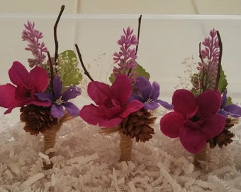 Rustic Country Wine/Fuchsia/Lavender pin on Boutonnières (5)