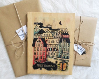 "Wood print ""Midnight in Copenhagen"""