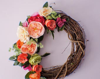 Summer Wreaths, Spring Wreath for Front Door, Peony and Rose Wreath, Pink Wreath, Spring Door Wreaths, Mothers Day, Ready to Ship