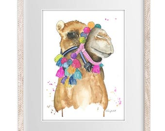 Watercolor Painting Print 'Tasseled' -- Boho Home/office decor and wall art, Animal print of Camel with Tassels