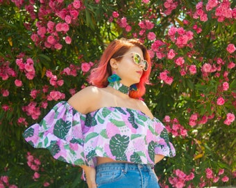 Pink Monstera off shoulder top with bell frilled sleeves | IN STOCK