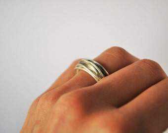 Sterling Silver Modern Ring in Earthy Style Band