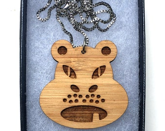 Laser cut angry hippo bamboo necklace