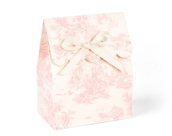 Favor boxes, Pink favor boxes, Pink favor bag, Favour boxes, Pink toile favor boxes, Baby shower favor bags, Candy buffet boxes, Set of 8
