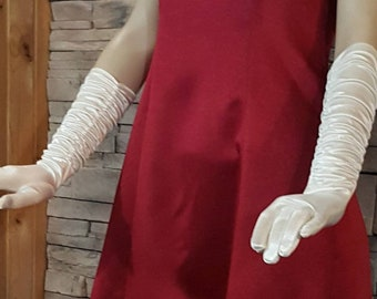 Long  ivory evening gloves. Prom gloves/ special occasion/opera gloves/formal gloves/ costume accessories cosplay/