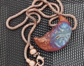 Raku Spiral Half MoonPendant Necklace
