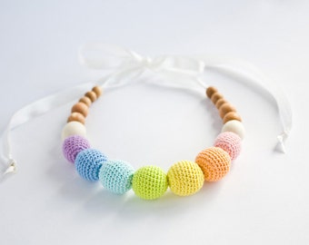 Pastel Rainbow Nursing Necklace - Easter Baby Gift, Teething Beads, New Mom Necklace, Breastfeeding, New Baby Gift - NR02